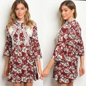 Arriving Saturday- High neck flutter sleeve dress